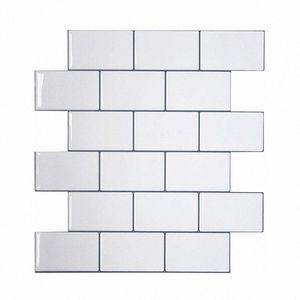 Vividtiles más gruesa blanca metro Azulejos despegar y pegar azulejos de la pared palo en Entrepaños de cocina para el parachoques 1 Hoja 2OT7 #
