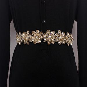 2019 Women yellow Crystal Elastic Belt For Women Rhinestone Studded Flower Narrow Belts bride cool Femme Slim Waist-Shaped Y200807