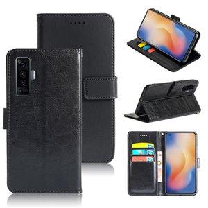 Crazy Horse Vintage Leather Flip Case Wallet Phone Cover For Vivo X50