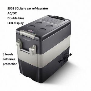 Camping Frigorifero portatile per auto AC / DC12V24V Freezer dispositivo di raffreddamento di sicurezza Frigorifero 50L Mini Compressore per frigorifero frigorifero dell'automobile AEUt # Cgkbr