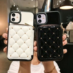 Vintage Cell phone Case for IPhone 11 Pro X XS Max XR 12 8 7Plus Fashion Zipper Card Slot Luxurious Back Skin Cover