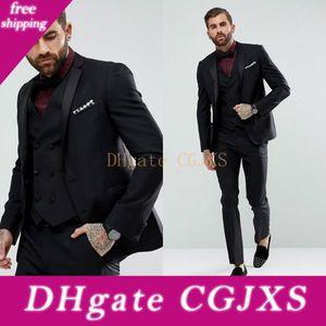 2019 New Black Mens Suits Slim Fit Custom Made Groomsmen Wedding Tuxedos For Men Blazers Plus Size Prom Suit (Jacket Vest Pants )
