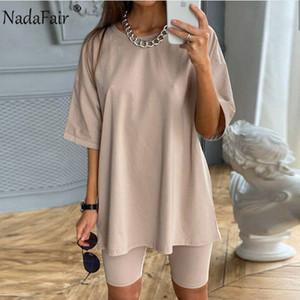 Nadafair шорты наборы 2020 с коротким рукавом футболки и шорты Байкер Summer Solid Streetwear Повседневный двухкусочный Комплекты Наряды женщин T200808