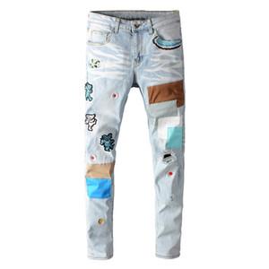 orso ricami patchwork di luce blue jeans MORUANCLE uomini di fori Streetwear strappati jeans skinny in denim elasticizzato
