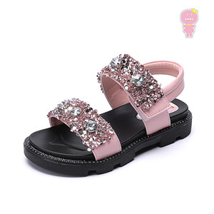 Summer girls sandals kids beach shoes children fashion shoes baby Faux Crystal glitter soft sole 3 to 13 yrs