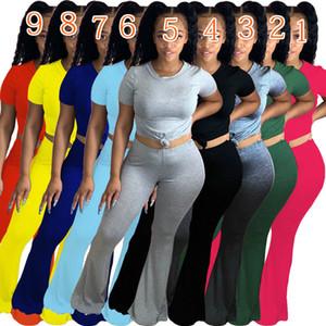 Mulheres De duas partes Conjuntos de Bell Pants Set apertado Designer Moda manga comprida Calças Clube Camiseta Legging Suits Matching Hot Selling 9 cores