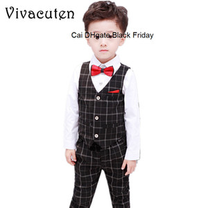 Boys Formal Tuxedo Dress Suits Kids Weeding Sets Vest Pants 2pcs Children Prince Costumes Children Clothing Party School Uniform