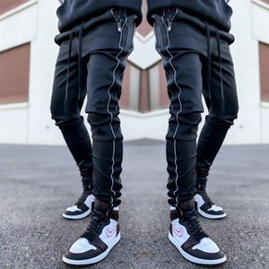 Jogger Men Reflective Sweatpants with Zipper Pockets Open Bottom Athletic Pants for Jogging, Workout, Gym, Running, Training