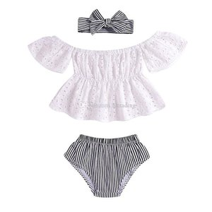 Baby girls outfits Lace Hollow Off Shoulder top+stripe Triangle shorts+ headband 3pcs set 2019 summer fashion kids Clothing Sets C5930