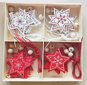 christmas decorations 2020 wooden color box decoration creative 4 grid wooden box Christmas decoration handmade wood chip DIY accessories