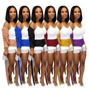 Due pezzi Shorts autunno manica lunga Moda vestiti svegli sexy del cardigan Shorts insieme a due pezzi Womens Designer di lusso