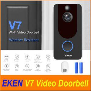 Visão detecção de movimento PIR EKEN V7 HD 1080P Smart Home Vídeo Doorbell sem fio da câmera Wifi Real-Time Video Phone Nuvem de armazenamento Noite