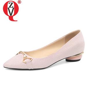 ZVQ printemps nouveaux appartements de femmes de la mode en dehors des femmes de décoration en métal cuir véritable bout pointu chaussures confortables expédition de baisse