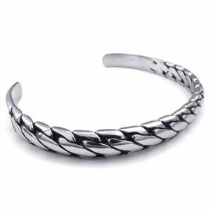 New Stainless Steel Women's Punk Jewelry Silvery Polished Delicate Interwoven Cool Shape Luxury Bangle free shipping