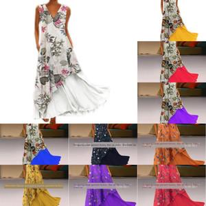 Осень V-образный вырез без рукавов цветочного нерегулярного подола двухсекционного платье сумки на молнию платья с молнией сзади ie04y