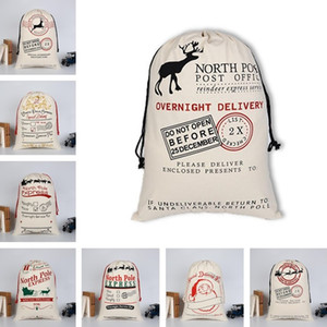 New Christmas bags Canvas Drawstring Bag Xmas Clause Gifts bags Drawstring Cloth Bag North Pole ExpressChristmas Decorations Sea Shipping