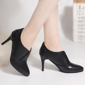Autumn Winter Women Bare Boots High Heels Dress Shoes Thin Heel Pointed Toe Booties Pumps Black botas mujer Ladies Shoes