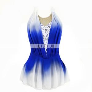 ropa de las muchachas del vestido del funcionamiento de hielo Competencia para gimnasia rítmica ropa LIU HUO patinaje artístico de las mujeres sin mangas azul cabritos de las medias