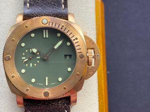 PAM382 VS-V2 MONTRE DE 럭스 47mm *이 티탄 합금 리어 커버 9000 자동 체인 운동 17.5mm 청동 시계 남성 시계 시계