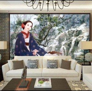CJSIR personalizada grandes murales de moda la decoración del hogar China Elementos Maid Figura TV Sofá fondo de la pared Papel de parede GeUG #