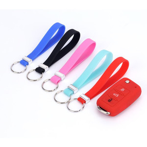 Hot Durable Waterproof Car Key Accessories Rubber Silicone Bangle Key Ring Wrist Keychain for Kids Gifts Women Girls Present