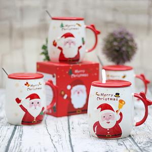 Regalo de Navidad Copas de dibujos animados de Santa Claus Impreso tapa Cuchara precioso porcelana Copas Oficina de manera creativa linda tazas de café Tazas VT1706