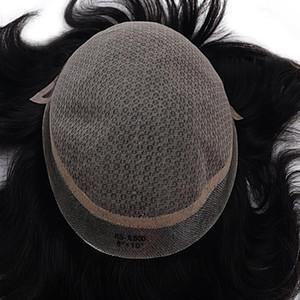 150% Плотность Мужские парики человеческого Toupees волос Silk Base Mono Toupee Remy Natural Wave Шиньон для мужчин