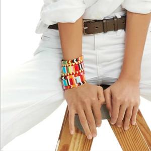 Bohemian Bracelet Set Handmade Friendship Stackable Enamel Rainbow Tile Bracelet Fashion Street Photography Bangles Y200918