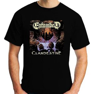 Entombed Clandestine T-Shirt рыхлой с коротким рукавом Черная мужская футболка