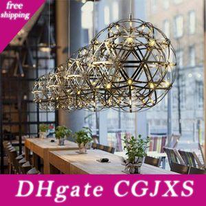 Spark bola de acero inoxidable LED de la lámpara moderna minimalista luminosa estrellada restaurante estrella de la chispa de la bola de la lámpara de la lámpara redonda