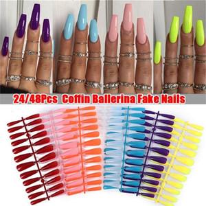 24 / 48pcs réutilisables Faux ongles Conseils Set Cover pour Décorée Stiletto avec la conception de presse sur les ongles Art Faux Extension Kit Conseils