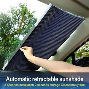 자동차 앞 유리 태양 그늘, 보편적 인 UV 보호 개폐식 태양 그늘 바이저, 쉬운 무료 배송을 설치하는 방법
