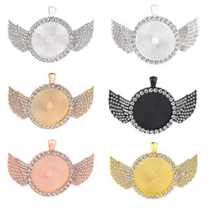 30mm DIY Jewelry Accessories Round Bottom Brackets Time Gem Sublimation Blank Pendant with Wing For Hot Transfer Printing Necklace