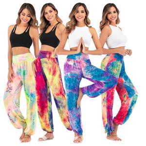 De las nuevas mujeres del tinte del lazo de pierna ancha pantalones de cintura alta de la pierna ancha sueltos pantalones casuales Impreso Gym Plus Tamaño 3XL