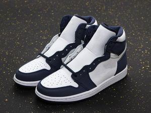 New Exclusive 1 High OG Japan Basketball Designer Schuhe Weiß Dunkelblau Metallic Silber Mode Chaussures Trainer kommen mit Kasten