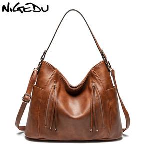 сумка Большой бренд дизайн дамы NIGEDU Женские сумки Hobos Кожа PU Большой Tote сумки Сумка для женщин 2020 серый