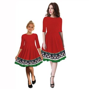 New Small Windmill Digital Printing Middle Sleeve Dress European And American Fashion Brand Mother And Daughter Dress