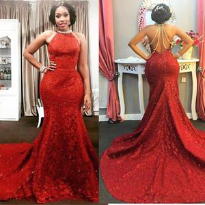 Red Halter lungo treno senza maniche Perle-Chain Sparkly Mermaid stupefacente aperto Back-Prom Dress abiti occasione speciale abito da sera Plus Size