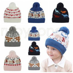 Baby Kids Boys Girls Beanies Cartoon Heart Christmas Desginers Winter Quality Children Caps Hats for 1-4 Years Christmas Party Hats RRA3464