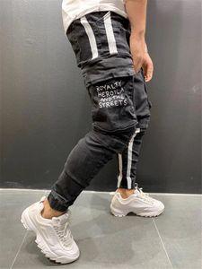 Pantalones hombres patrón de moda blanqueado Lettern lápiz pantalones casuales color natural Capris Jeans Pantalones Hombres Ropa