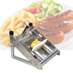patatas fritas de corte de acero inoxidable máquina de papas fritas cuchillo ondular cortador comercial manual de la máquina máquina de cortar la patata de onda