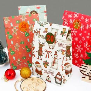 2020 عيد الميلاد الجديد هدية حقيبة 24 حقائب قطع الورق و24 ملصقات كعك عيد الميلاد وجبة خفيفة كاندي التعبئة حقيبة عطلة زينة