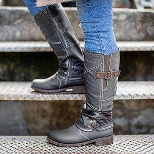 Drop Shipping Winter Warm Fur Knee High Boots Womens Snow Boots High Heels Side Zipper Female Shoes Black Brown Red Large Size