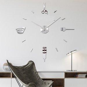 Barber Pole Schere Schönheitssalon DIY Art Giant Clock Big Needle Frameless Barbe Shop-Friseursalon Große Wand-Uhr Y200407