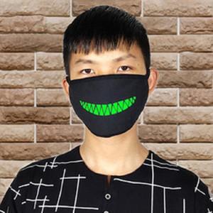Maschere Donne Uomini Glow In Dark Skull Scarey Black Mask Bocca fronte mezzo costume cosplay Masquerade la mascherina del partito fai da te Decorazione