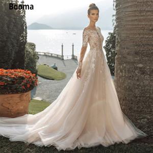 Booma lange Hülsen-Spitze Brautkleider 2020 Appliques weiche Tulle Princess Beach Brautkleid Plus Size Illusion lange Zug-Kleid