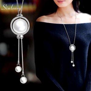 Cadeia SINLEERY elegante strass Círculo longo Colar Para Mulheres Silver Cor ajustável Tassel pérola colar de pingente MY048 SSH