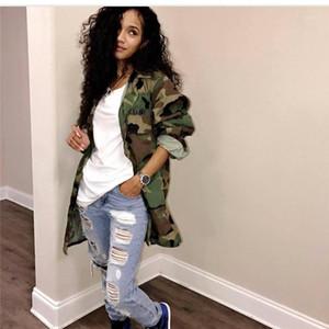 Designer femmes Trench Bouton long Lapel Designer Petit ami Coats style Vêtements pour femmes E.U.A. Armée Camouflage