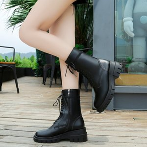 Fashion Women's Ankle Boots 2020 Autumn Winter Wedges Lace Up Platform Boots Woman Black White Motorcycle Botas Mujer
