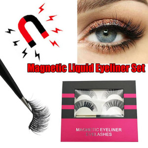 Hot Magnetic Eyeliner Magnetic Eyelashes Waterproof Long Lasting Eyeliner &False Eyelashes & Tweezer Set Custom Packaging Box